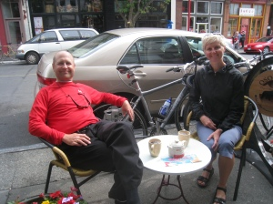 Coffee in China Town in Victoria.  A nice bike ride.