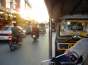As seen from the tuk tuk we often hired in Chiang Mai, Thailand.  these were fun.