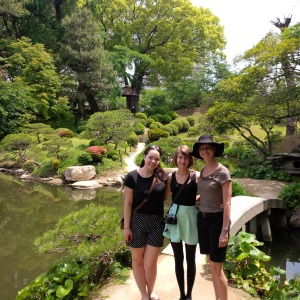 A garden in Hiroshima.  Caline Strach is  Interact President who earned the trip with us via a contest.  Karly and mom.